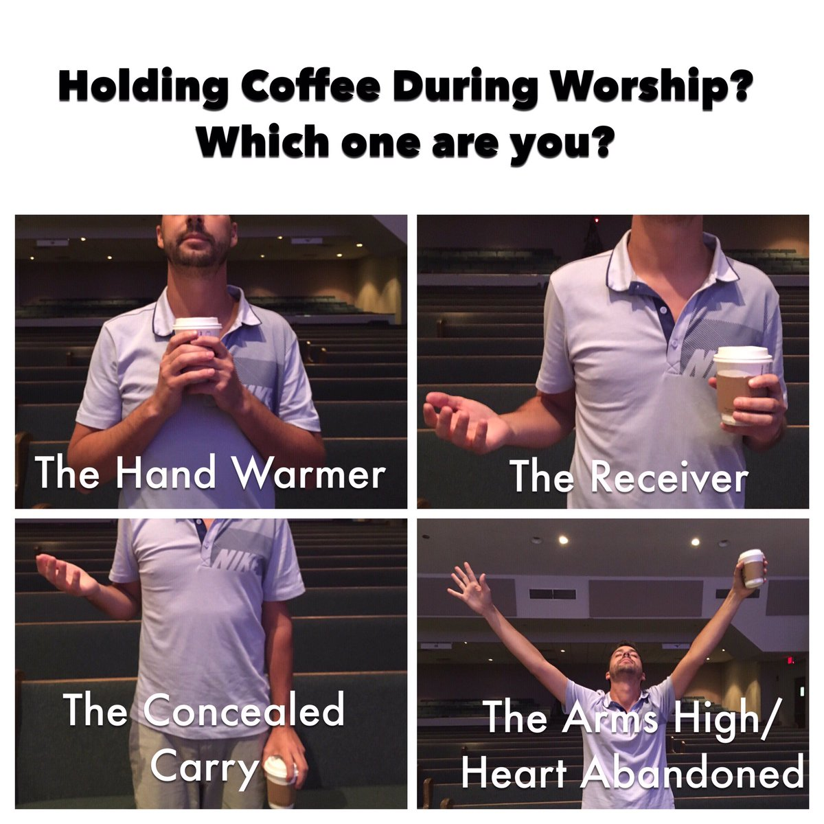 """John Crist on Twitter: """"The Four Holding Coffee During Worship ... #coffeeTime"""