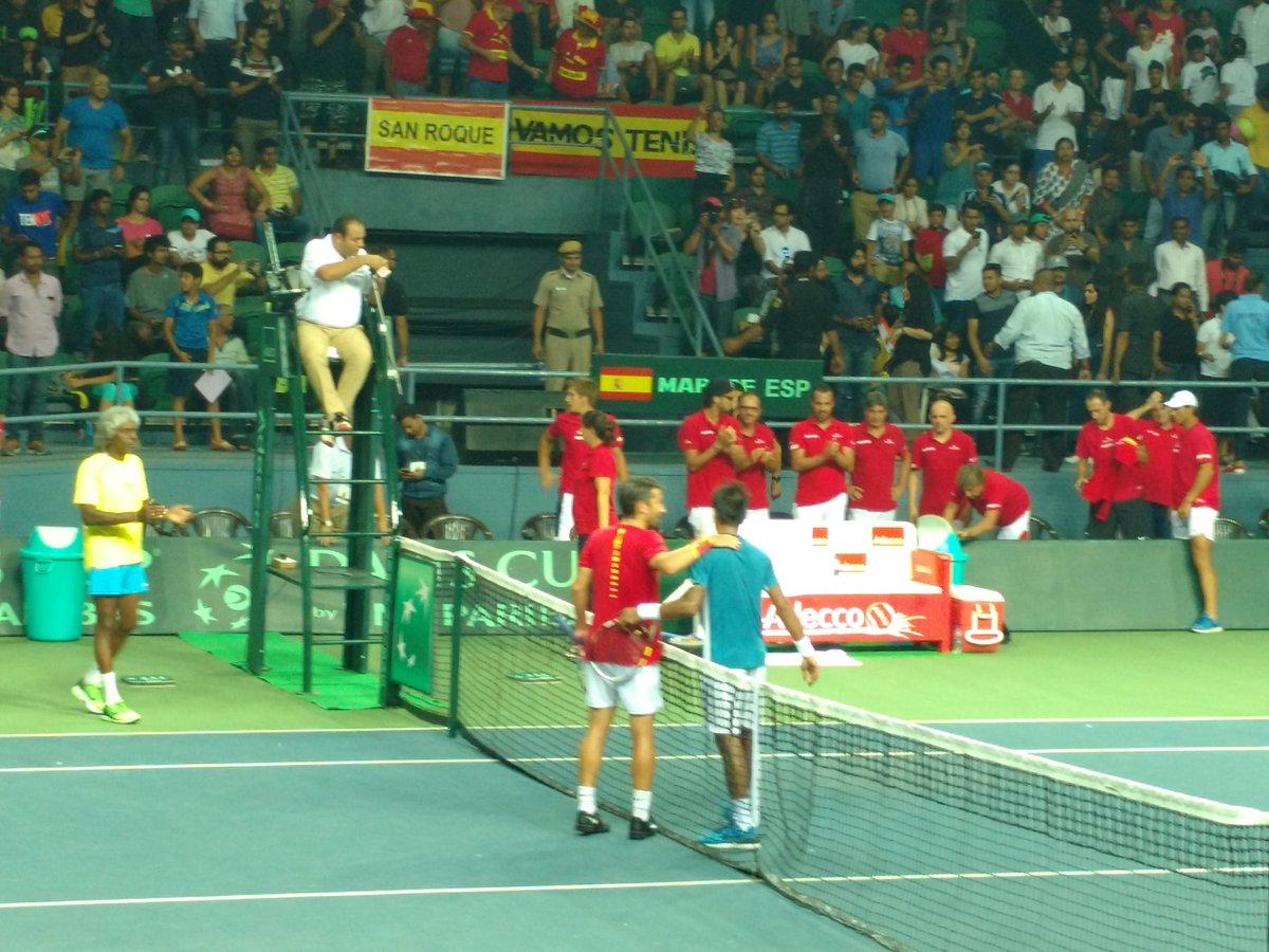 Sumit Nagal loses six games in a row to go down 36 61 36 vs Marc Lopez #INDESP #DavisCup https://t.co/k3GW631HKy