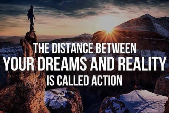 """""""The distance between your dreams and reality is called action."""" ~ unknown https://t.co/Dmj3u6VYQb RT @elaine_perry https://t.co/db4Ya00mvy"""