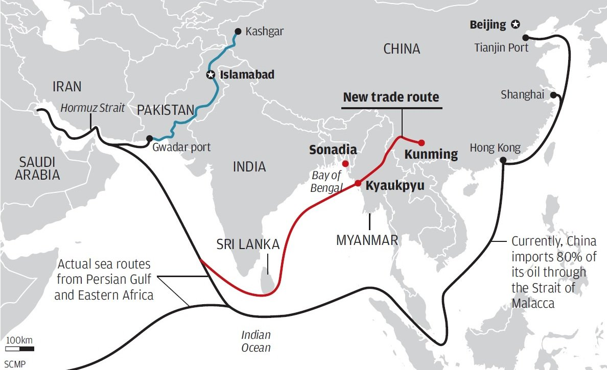 So Chinese shipments from Europe, Middle East, Africa have to travel all the way around India, Malacca, ASEAN. https://t.co/3ahv1wa8kD