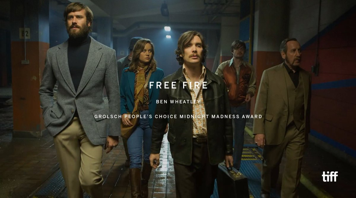 Congratulations to @mr_wheatley on #FreeFire winning The Grolsch People's Choice Midnight Madness Award.   #TIFF16 https://t.co/S3MjqOIJR2