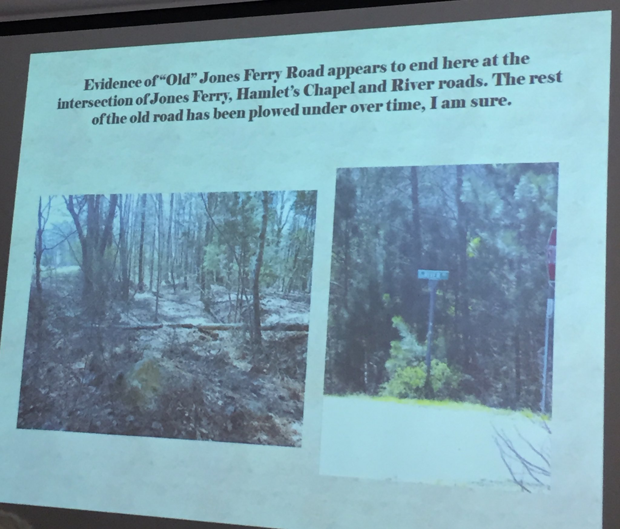 "@chpublib Photos of the end of evidence of ""old"" Jones Ferry Road, about 1/2 mile from Haw River #jonesferry https://t.co/5xljSnVyAT"