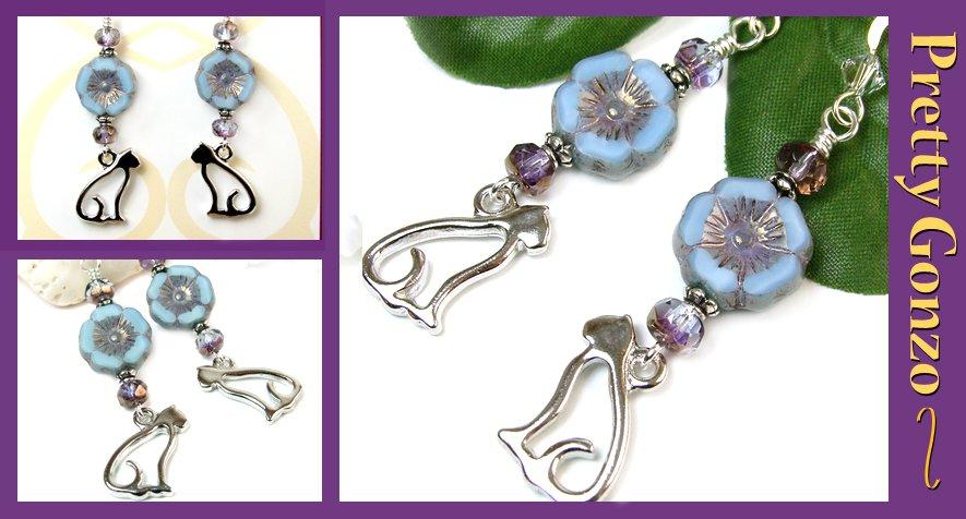 Sweet for #CatLovers! #Cat #Earrings w Blue #Flower Czech Beads, by #PrettyGonzo #Jewelry https://t.co/AxOvz1vncr https://t.co/MaaX0WM5rA