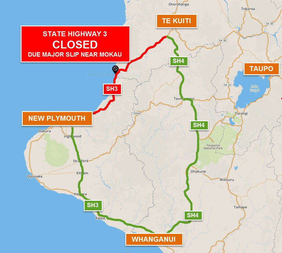 Update: Due 2 slip SH3 sth of Mokau likely 2 remain CLOSED until at least Wed. More info https://t.co/fjyKS2rCCN ^LC https://t.co/5pDZzdrL3Q