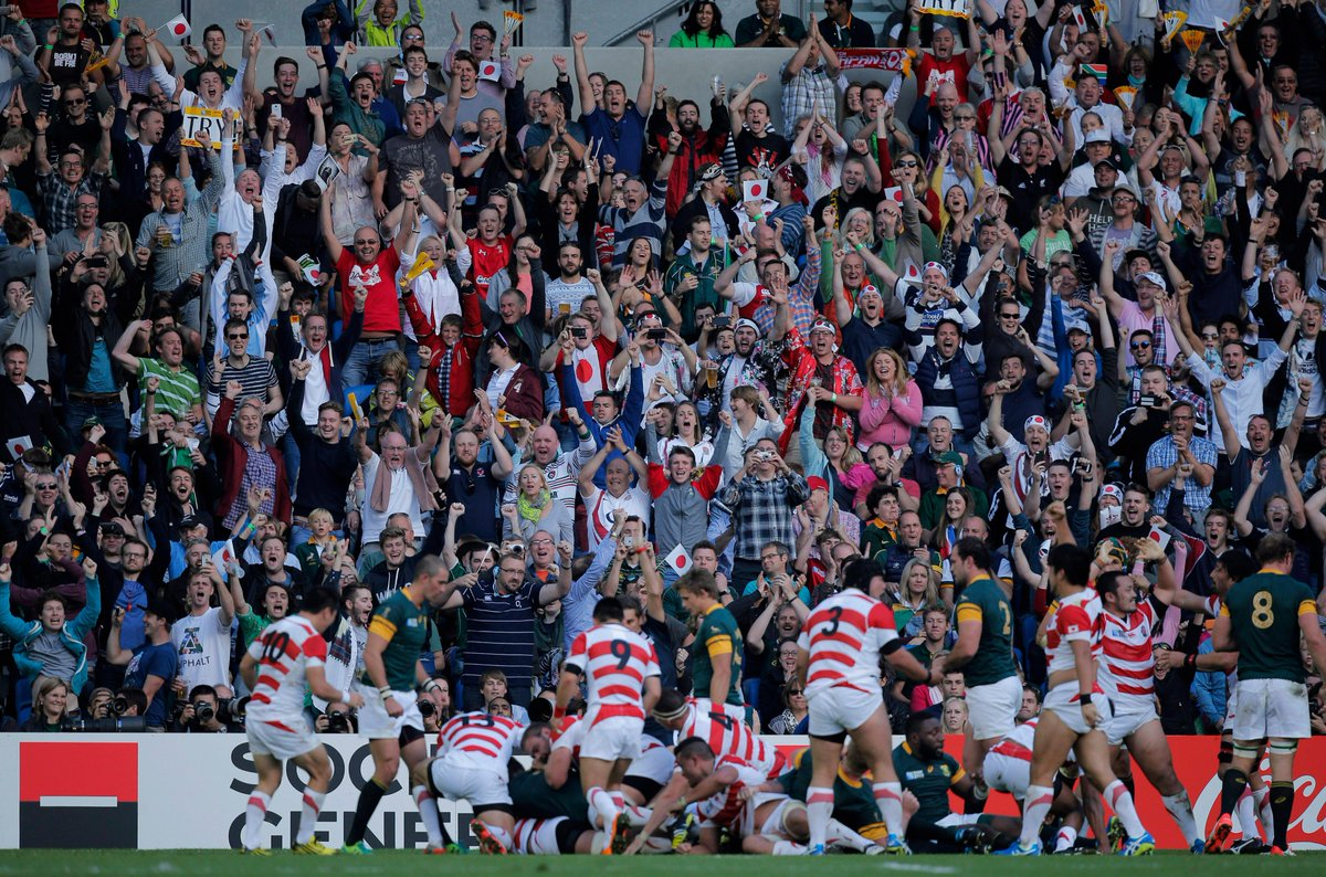 ONE YEAR TODAY: Japan pulled off the biggest shock in Rugby World Cup history with a 34-32 win over South Africa... https://t.co/sdumvlVFFB