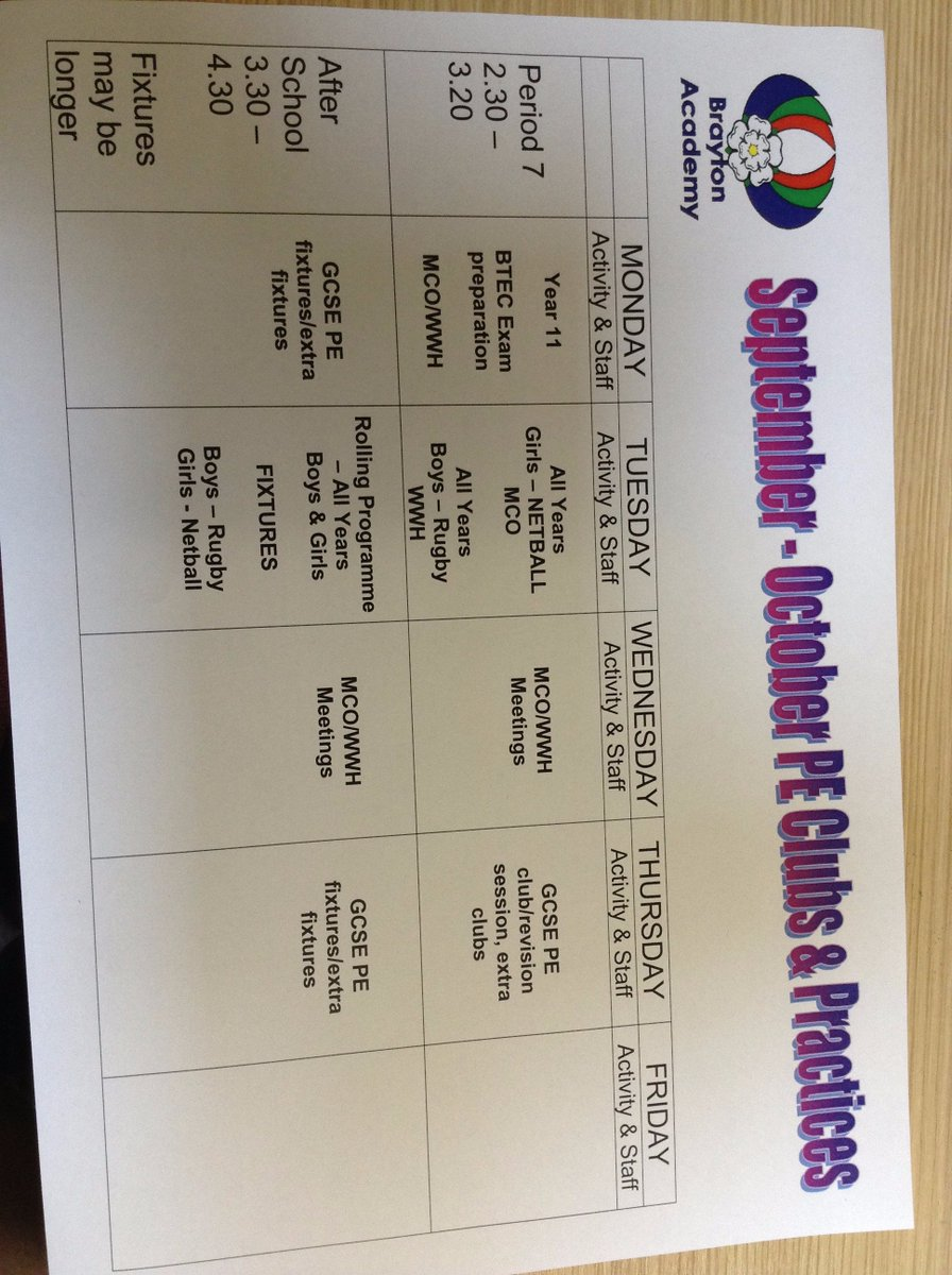 Our extra-curricular programme is also up and running. Come along and join the fun...everyone welcome!