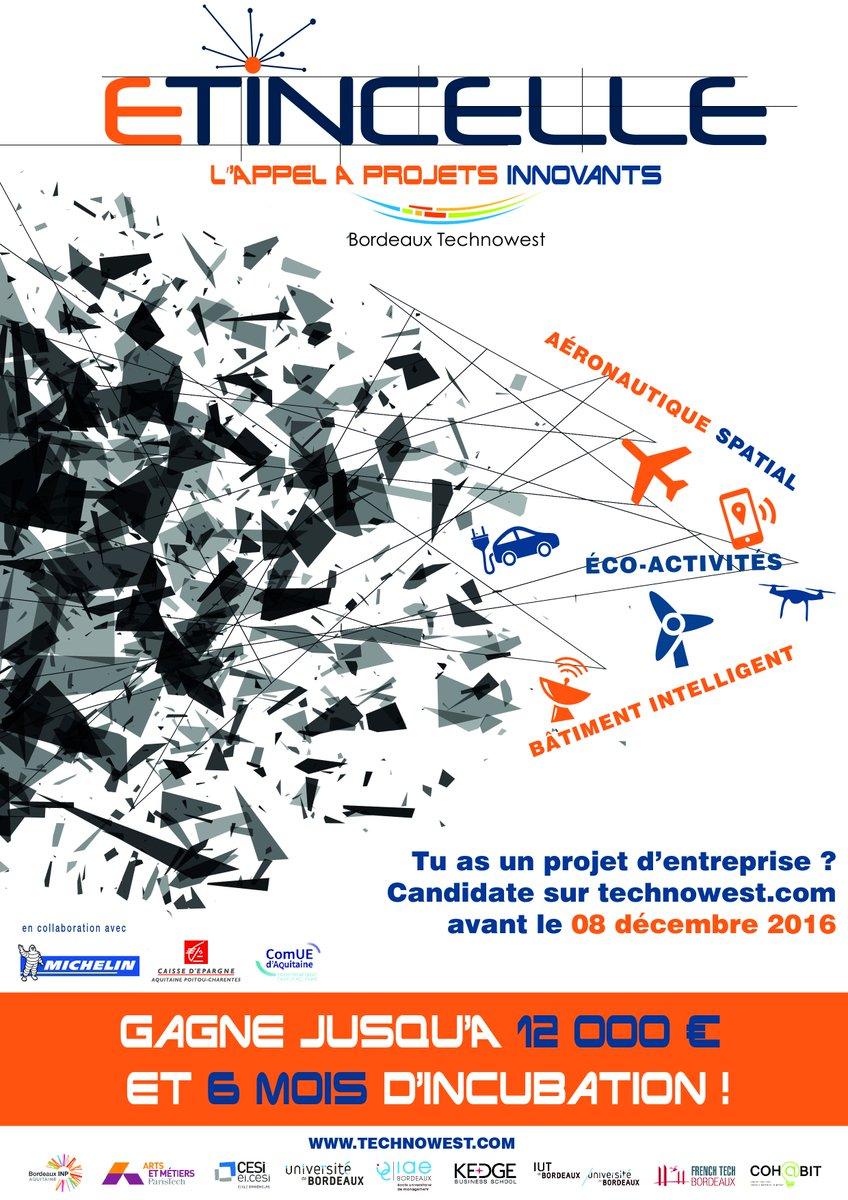 TOP DEPART pour #ETINCELLEBTW, l'appel à projets de Bordeaux @Bdx_Technowest. RDV sur https://t.co/wxS3FRzLkE