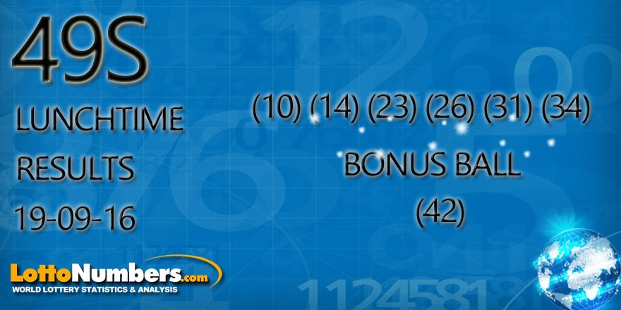 Lottonumbers Com On Twitter Today S Uk 49s Lunchtime Results For