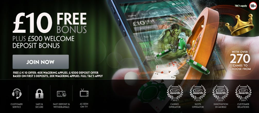 PaddyPower Casino £10 no deposit bonus