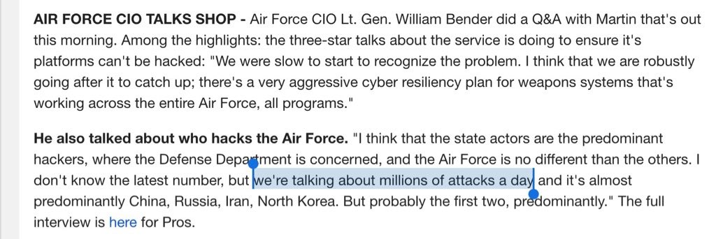 "To the person briefing USAF CIO on ""millions of attacks per day"": stop. Do you count individual bullets as attacks? https://t.co/EKP7aSnVKS"