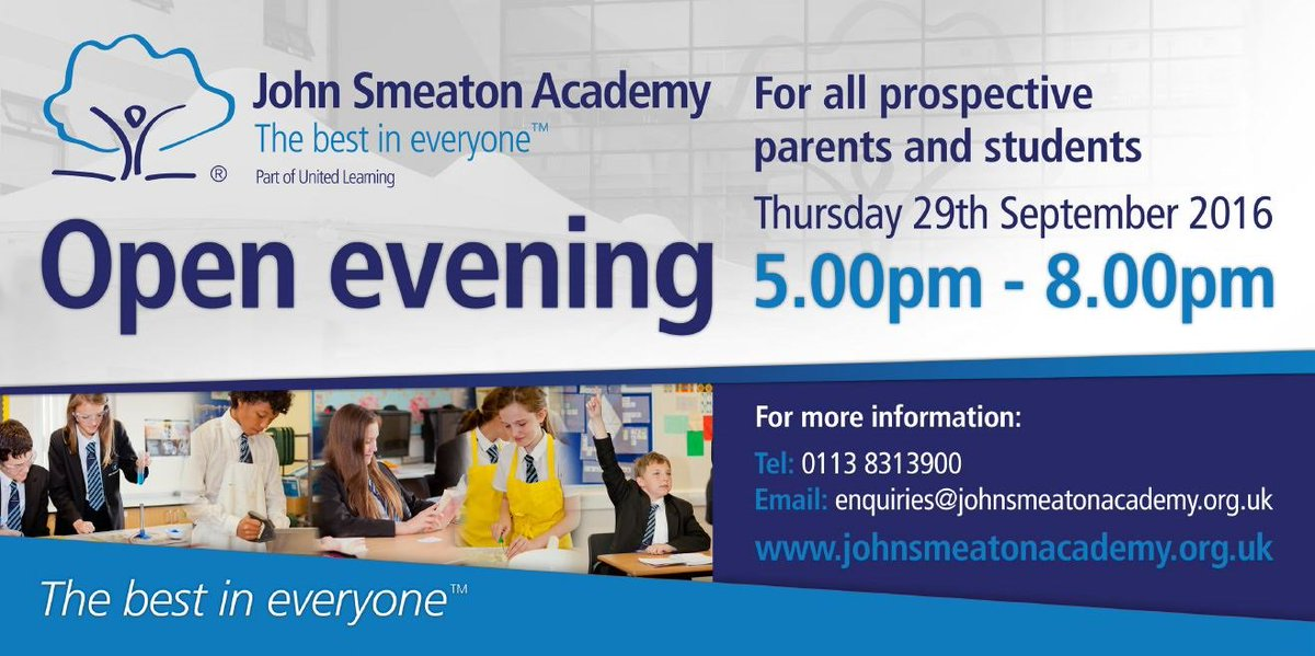 Join us for @SmeatonAcademy Open evening 5-8pm Thursday 29th September #JSAOpenDay