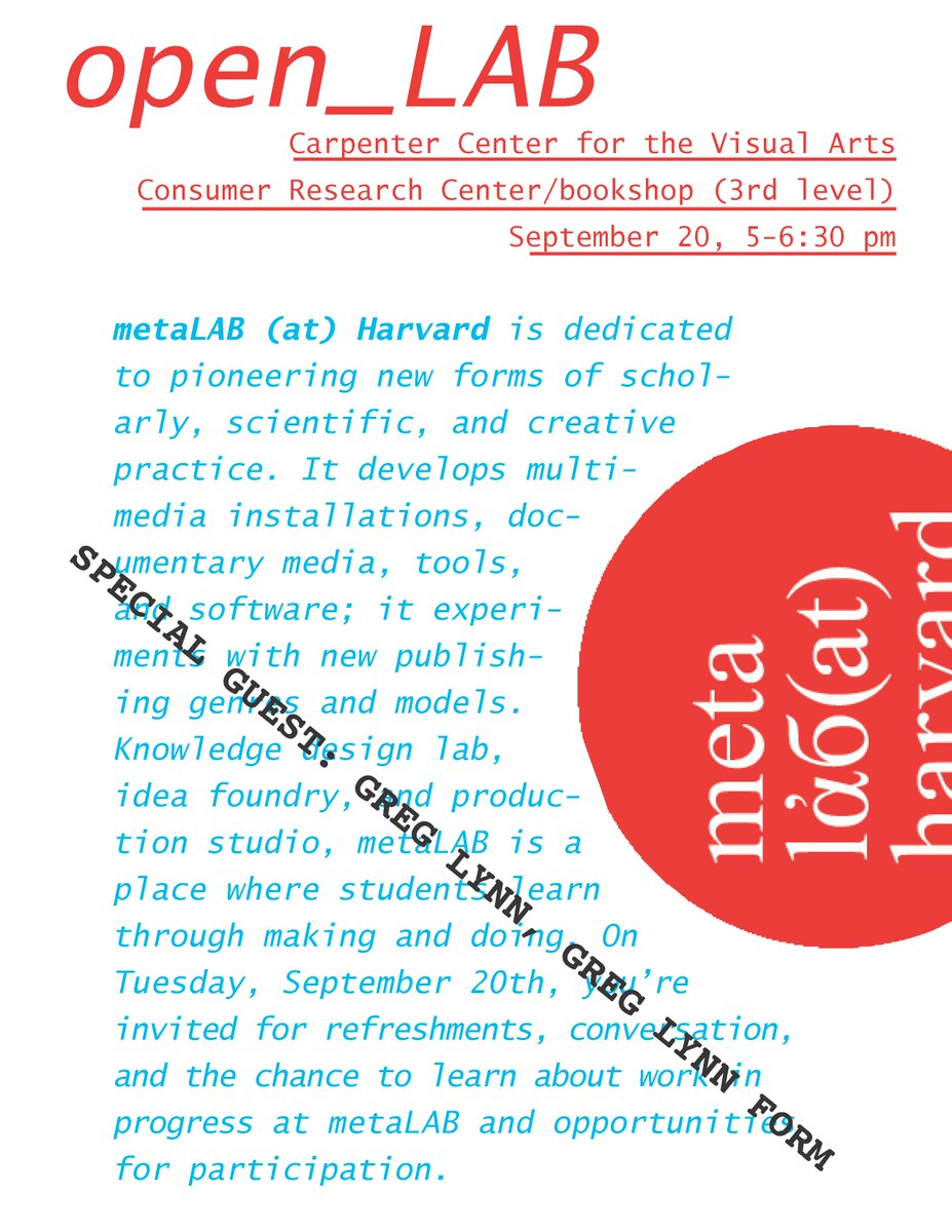 Cameo appearance by Greg Lynn @greglynnform @P_F_F at tomorrow's 5 pm metaLAB openLAB event at @ccva_harvard