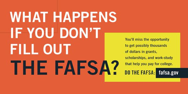 A1: Everyone should fill out #FAFSA–its the ticket 2 fed money & other #finaid like #scholarships! #MillennialMon https://t.co/WozTvrPyP1