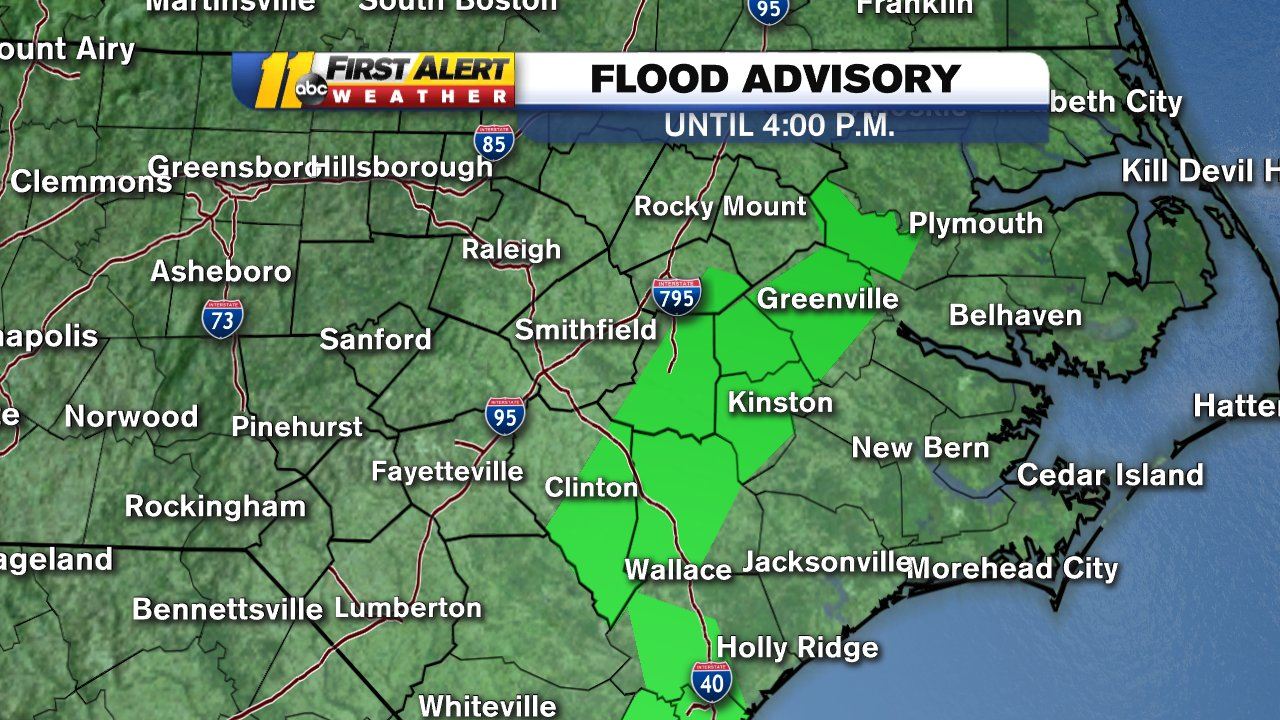 Map A Flood Advisory Is Issued For North Carolina39s
