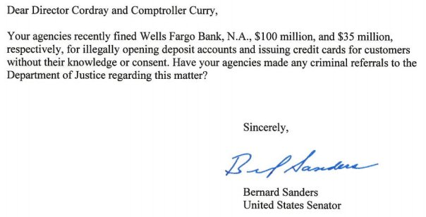 I have a very simple question for the regulators who fined Wells Fargo:
