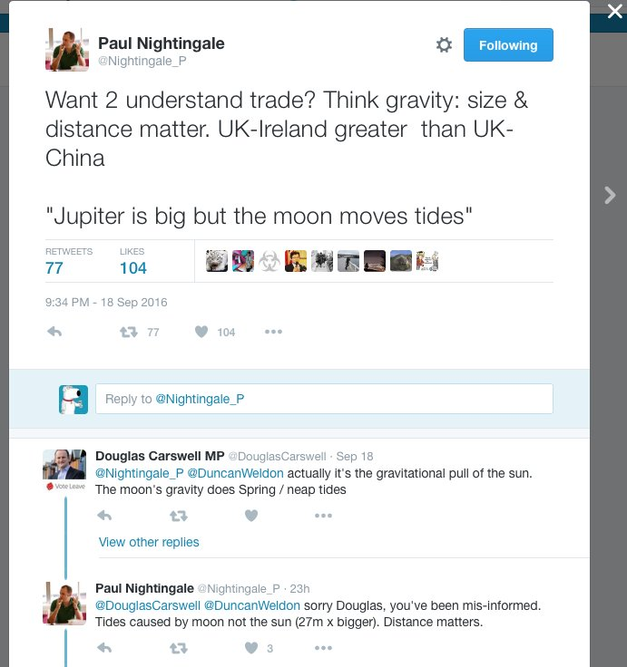 UKIP Brexiteer Douglas Carswell has his misunderstanding of tides explained to him by an expert. https://t.co/GOX1s8gpHO