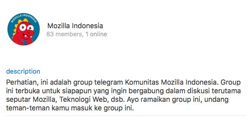 Mozilla Indonesia juga mempunyai group chat di Telegram, lho. Yuk gabung di https://t.co/Hhi62sjZuo https://t.co/rliMOPBBEi