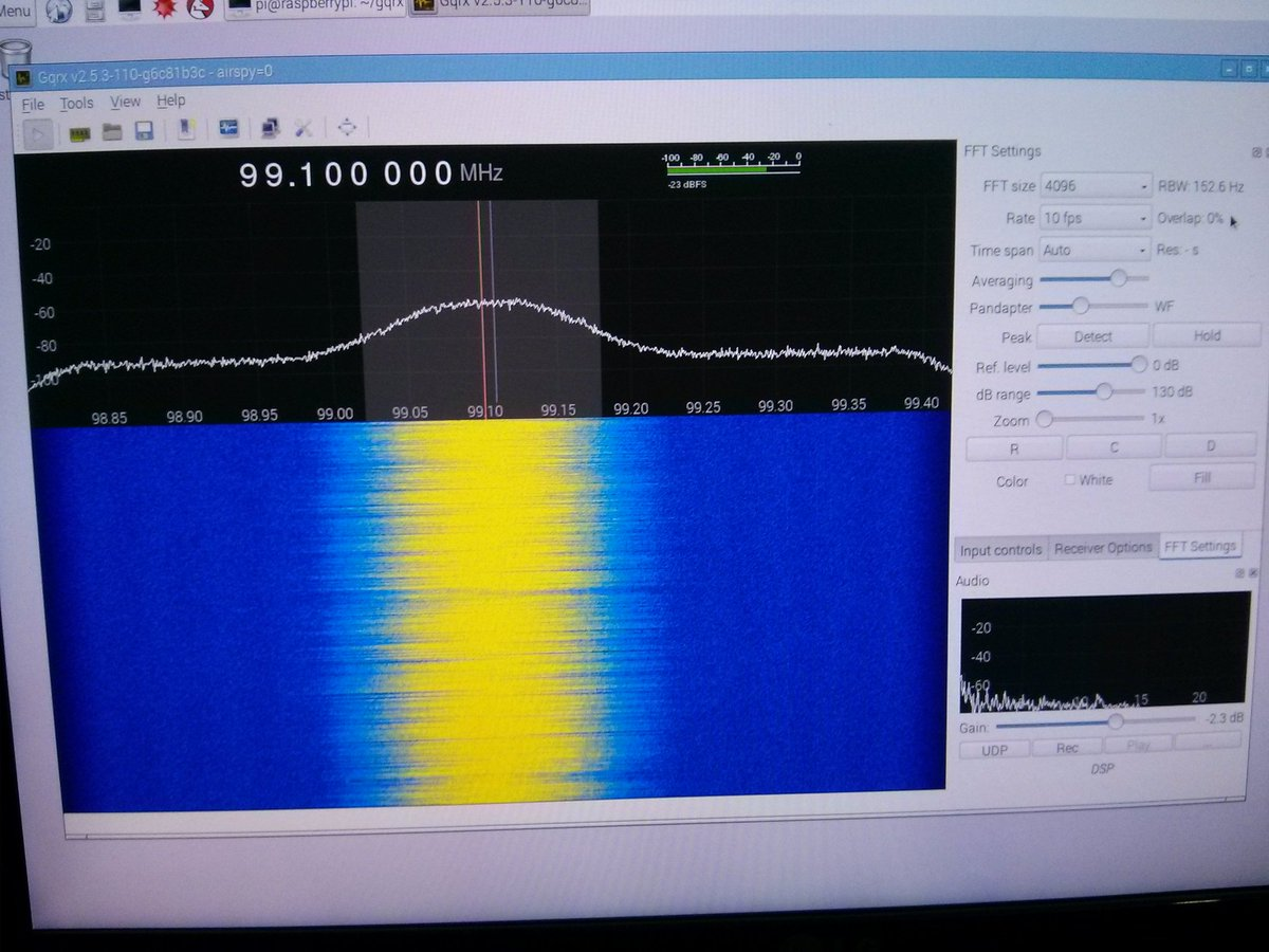 Now running the Airspy on the @Raspberry_Pi with GQRX #hamr #sdr https://t.co/zkdXLvvtpD