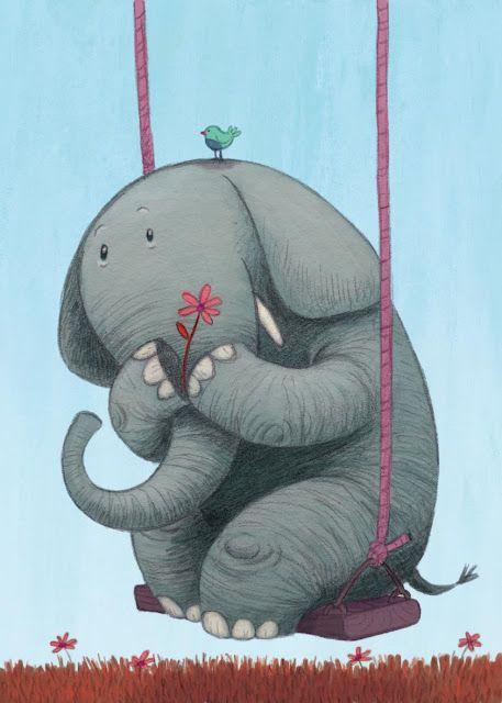 Открытка со слоном доброе утро, открытка для