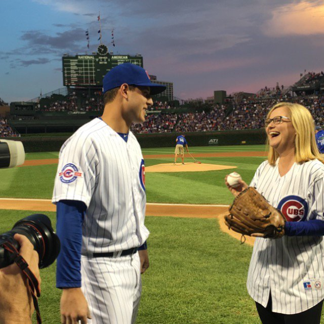 Throwing out first pitch at Wrigley...chatting w/my buddy, Anthony Rizzo