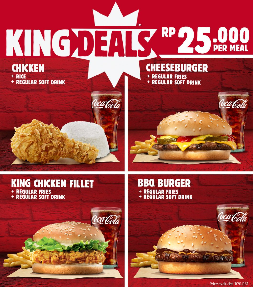 Burger King Introduces New $ King's Meal Deal Burger King offers a new value meal with the introduction of the new $ King's Meal Deal, which includes a choice of two burgers/sandwiches, an order of small fries, and a small drink for the price.