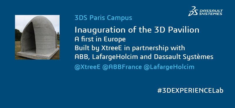 The innovative #3Dpavilion #3Dprinted by @XtreeE in partnership with @ABBgroupnews & @LafargeHolcim #3DEXPERIENCELab https://t.co/U43Qvwqc8u