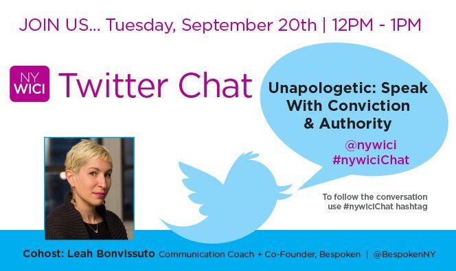 Twitter chat today at 12-1pm topic #UNApologizing Speak with Conviction + Authority w/ @BespokenNY #nywicichat https://t.co/5x3ZhZAAS4
