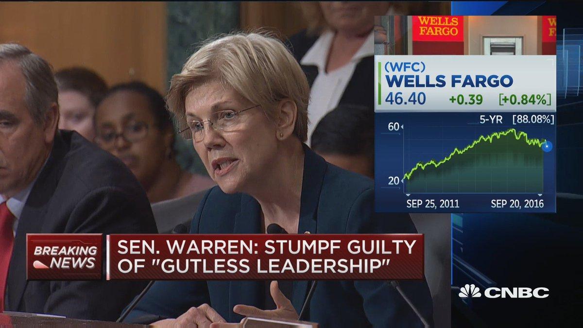 "Watch Elizabeth Warren Eviscerate ""Gutless"" Wells Fargo C.E.O. Over Phony Accounts"