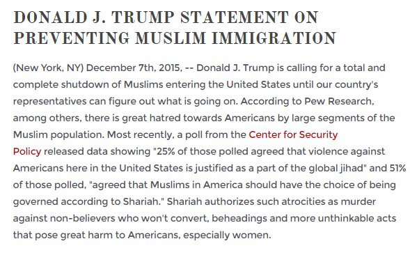 Mike Pence denied that Donald Trump would put a ban on Muslims. It's still on their website. https://t.co/DIn75RoeT9 https://t.co/khsGU2vABa