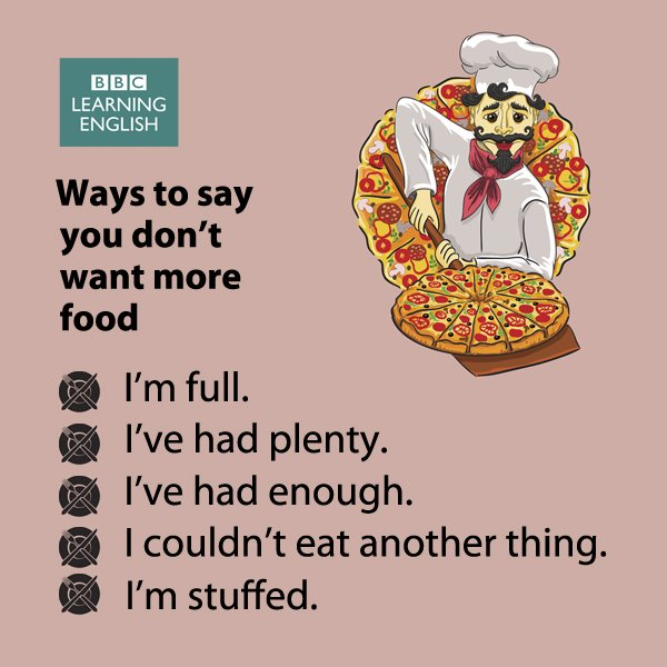 Expressions for when you've eaten enough (and don't forget to thank whoever is offering you #food) #vocabulary #elt