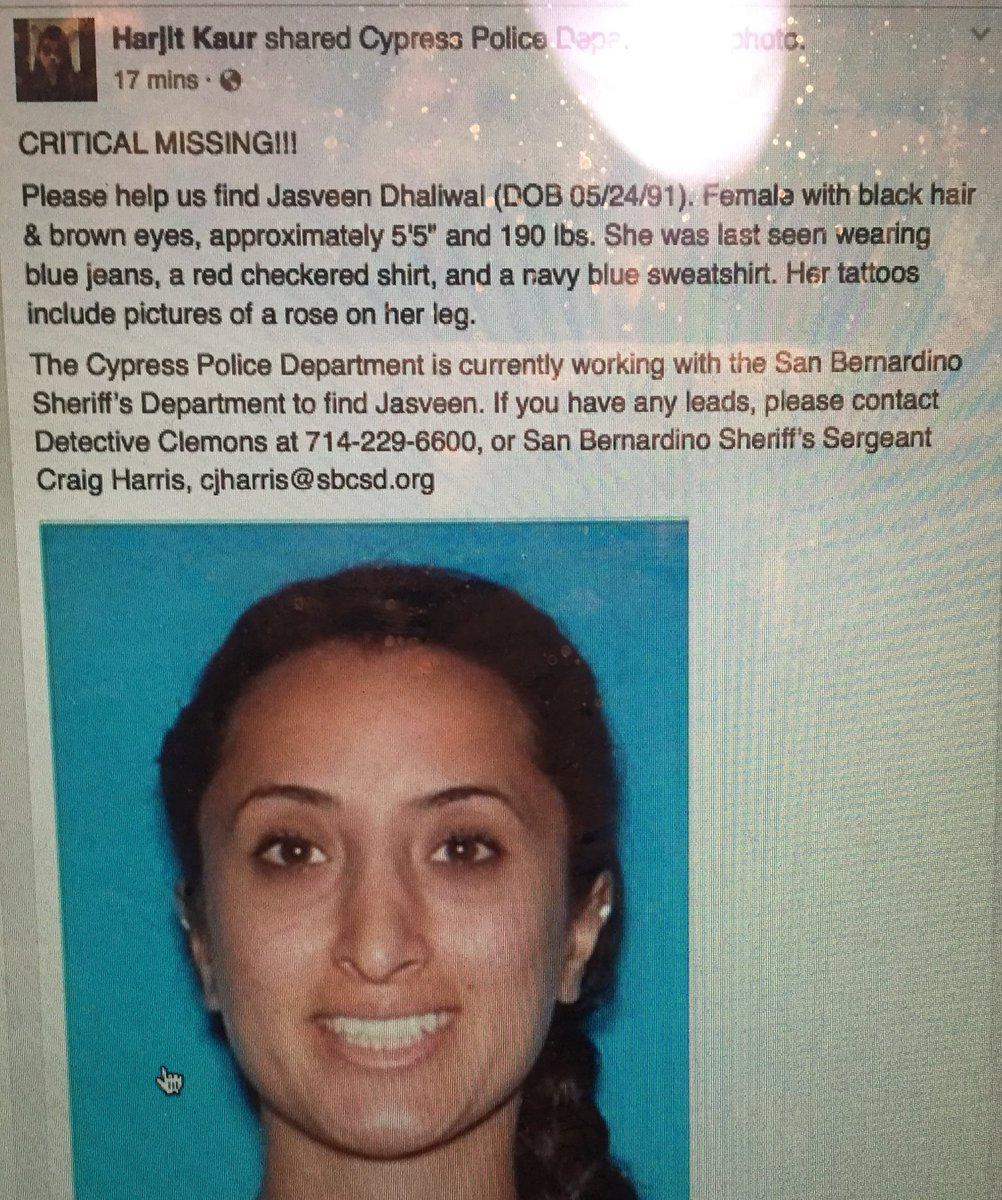Help find #JasveenDhaliwal - last seen in #SanBernardino https://t.co/HevUrBFEsR