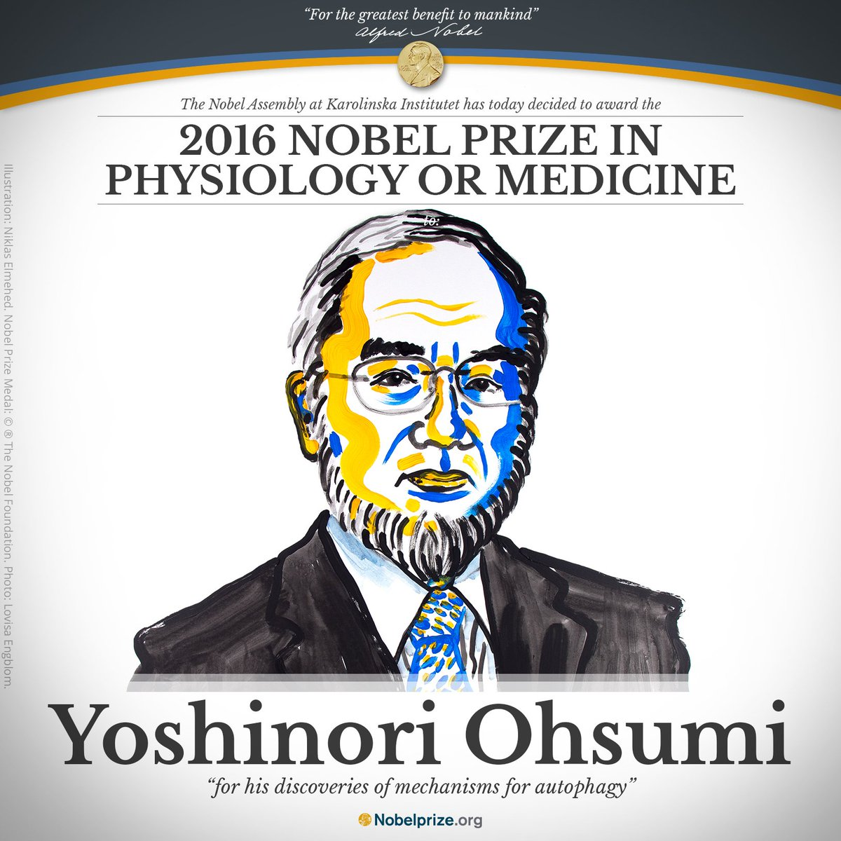 "BREAKING NEWS The 2016 #NobelPrize #Medicine awarded to Yoshinori Ohsumi @tokyotech_en ""for his discoveries of mech… https://t.co/rXFbeFcjFx"