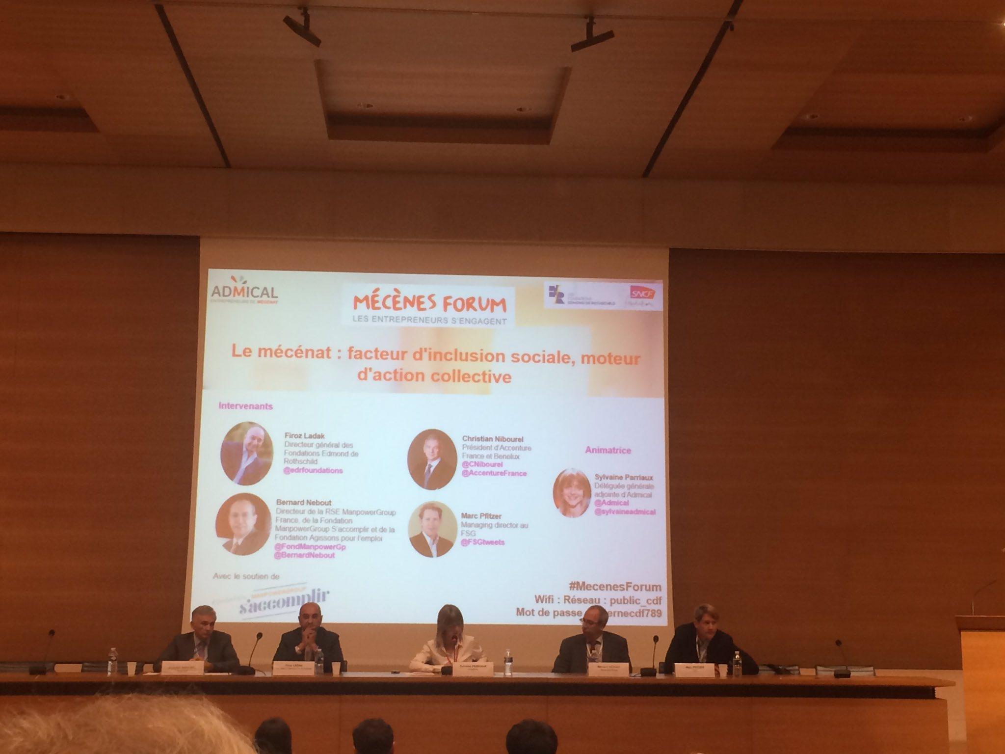 Conférence sur le Mecenat comme facteur d'inclusion sociale et moteur d'action collective. #MecenesForum https://t.co/cSQMissYwd