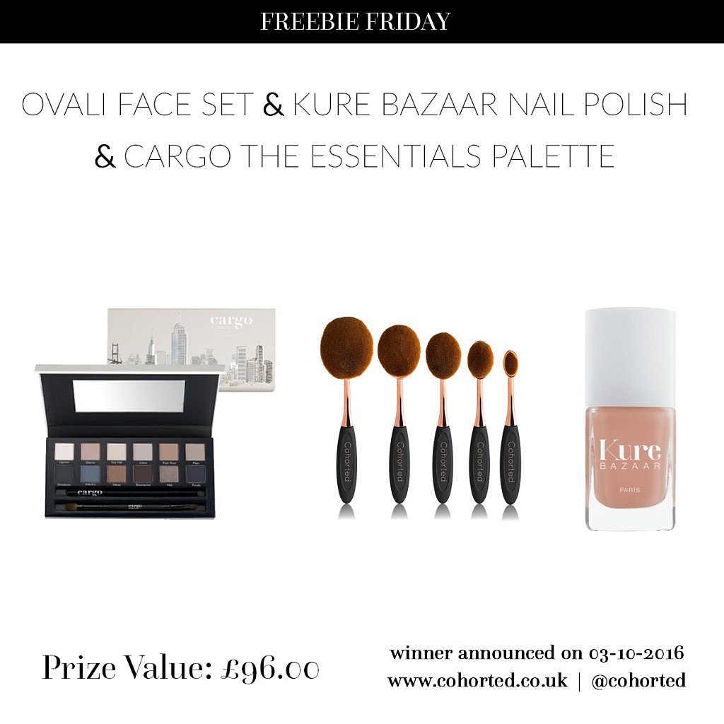 RT+ F @cohorted & @KureBazaar for a chance to #win... Kure Bazaar nails && Cargo the Essentials Palette and more! #FreebieFriday