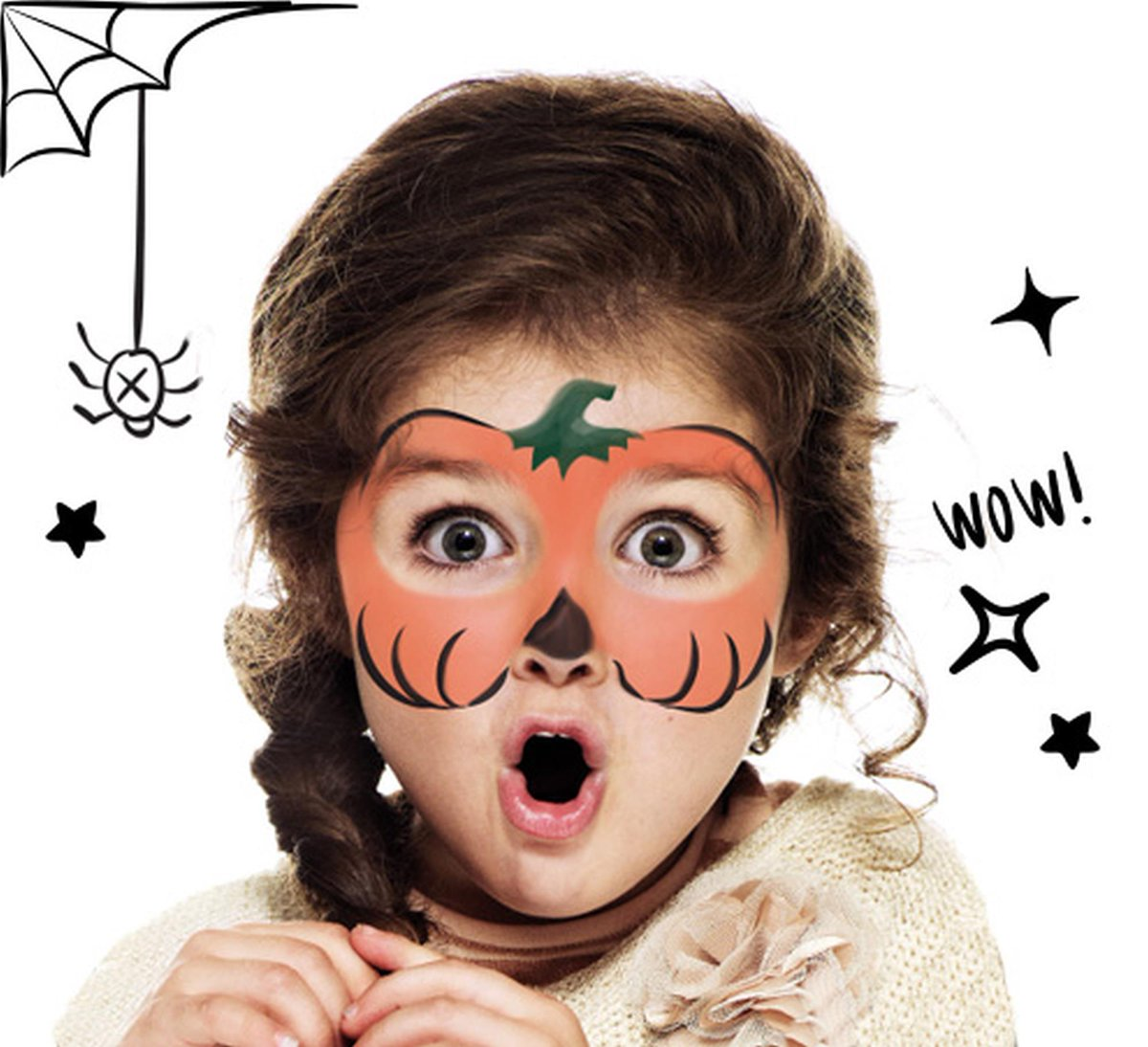 National book store on twitter spice up your halloween with a spooky face paint snazaroo is - Maquillage citrouille facile ...
