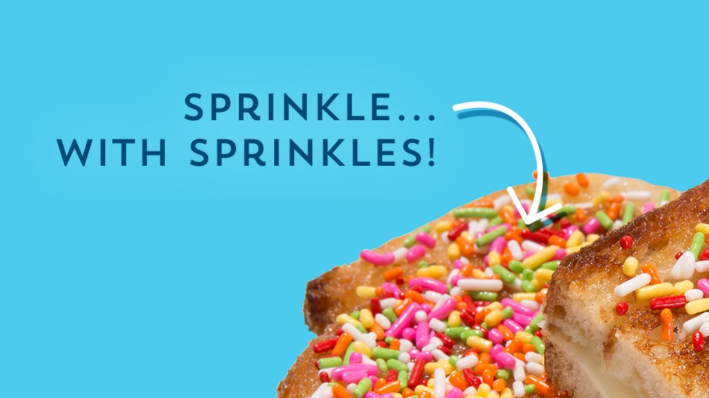 Yep, those're SPRINKLES on a #grilledcheese. Unexpected AND delish...that's a #Strangewich: https://t.co/h7N4knCdzv https://t.co/c1cQA5aa3R