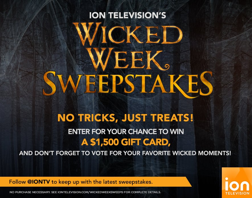 Enter @iontv's #WickedWeekSweeps for your chance to win a $1,500 gift card! https://t.co/bcDAqveQkf #Entry https://t.co/y3EoAyi2Rw