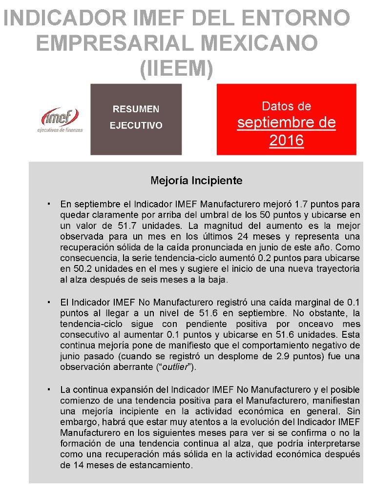 """""""Mejoría incipiente"""", resultados del #IndicadorIMEF en septiembre: https://t.co/5xArzrebQH https://t.co/G7z2qJ3shj"""