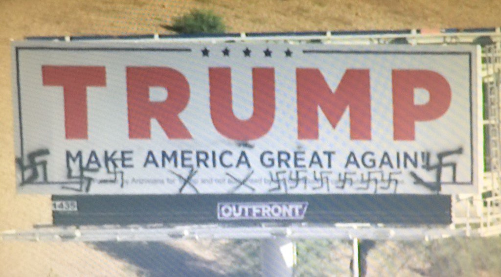 Vandals hit Trump billboard near downtown Phoenix. #12News https://t.co/BUNy73NGNd