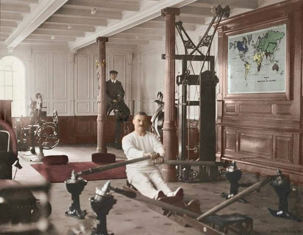 the long victorian on twitter inside rms titanic before doomed voyage to new york 1912 1 gym 2 upper dining room 3 first class cabin 4 ship under construction pic twitter com