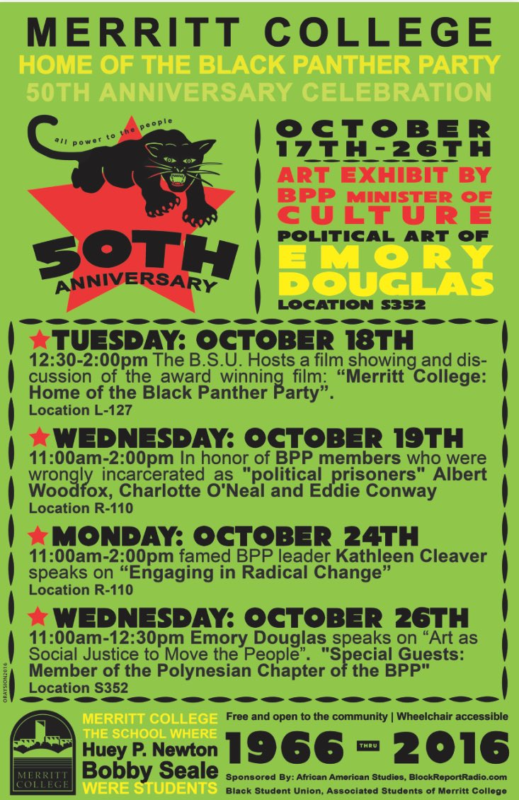 Film Screening: Merritt College - Home of the Black Panther Party @ Merritt College, L-127 | Oakland | California | United States