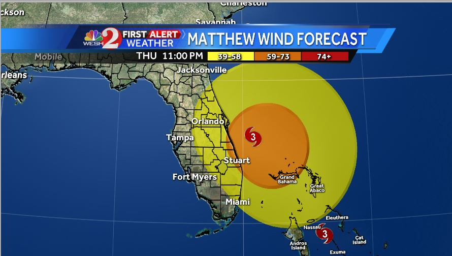 Tropical storm force winds (39+) will be felt in much of Central #FL Thursday night and into Friday. #WESHwx https://t.co/86uH2PF8IO