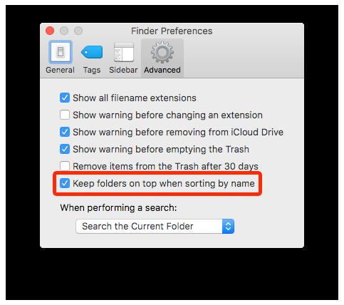 "TIL: Finder in macOS 10.12 Sierra (finally!) sports a ""Keep folders on top"" setting. #courage https://t.co/uk5NCvjZij"