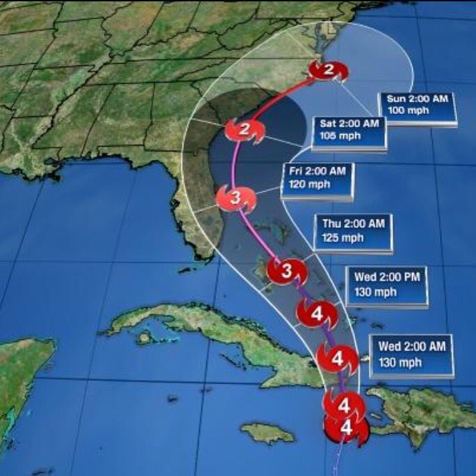 Latest track on #Matthew puts it off our #Brevard County coast early Friday. Next full update is at 11. https://t.co/gRuw6DyOI6