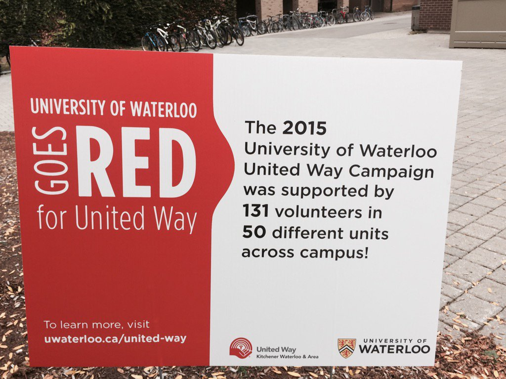 It's the @UWaterloo volunteers who make the campus go red for @UnitedWayKW #UWUnitedWay https://t.co/2MN9dbkv4g
