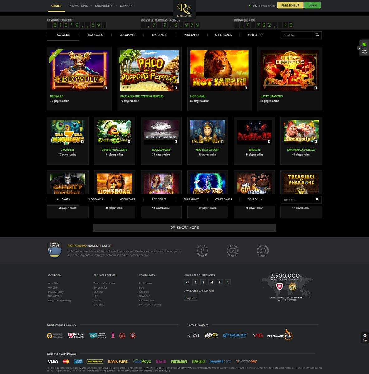 rich casino no deposit bonus code