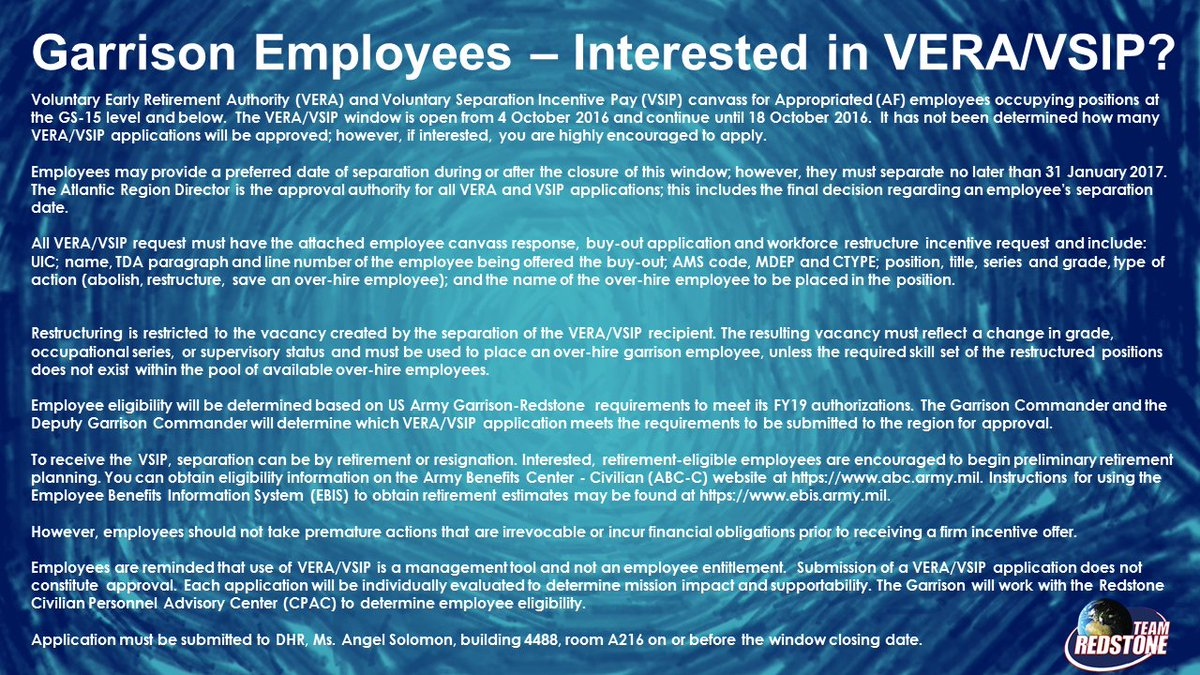 Redstone Arsenal On Twitter VERA VSIP Canvass For Garrison AF Employees GS 15 And Below The Window Is Open From 4 Oct 2016 Continue Until
