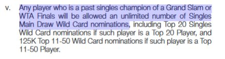 Any player who is a former Grand Slam or WTA Finals singles champion is allowed unlimited #WTA wildcards https://t.co/UgSHsys74k
