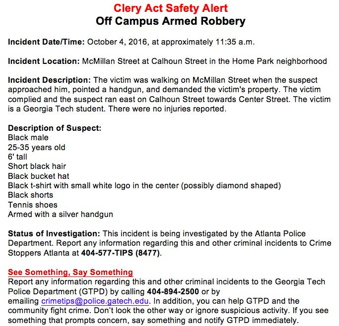 GA Tech Alert 10 4 16 Armed Robbery In Homepark This Morning