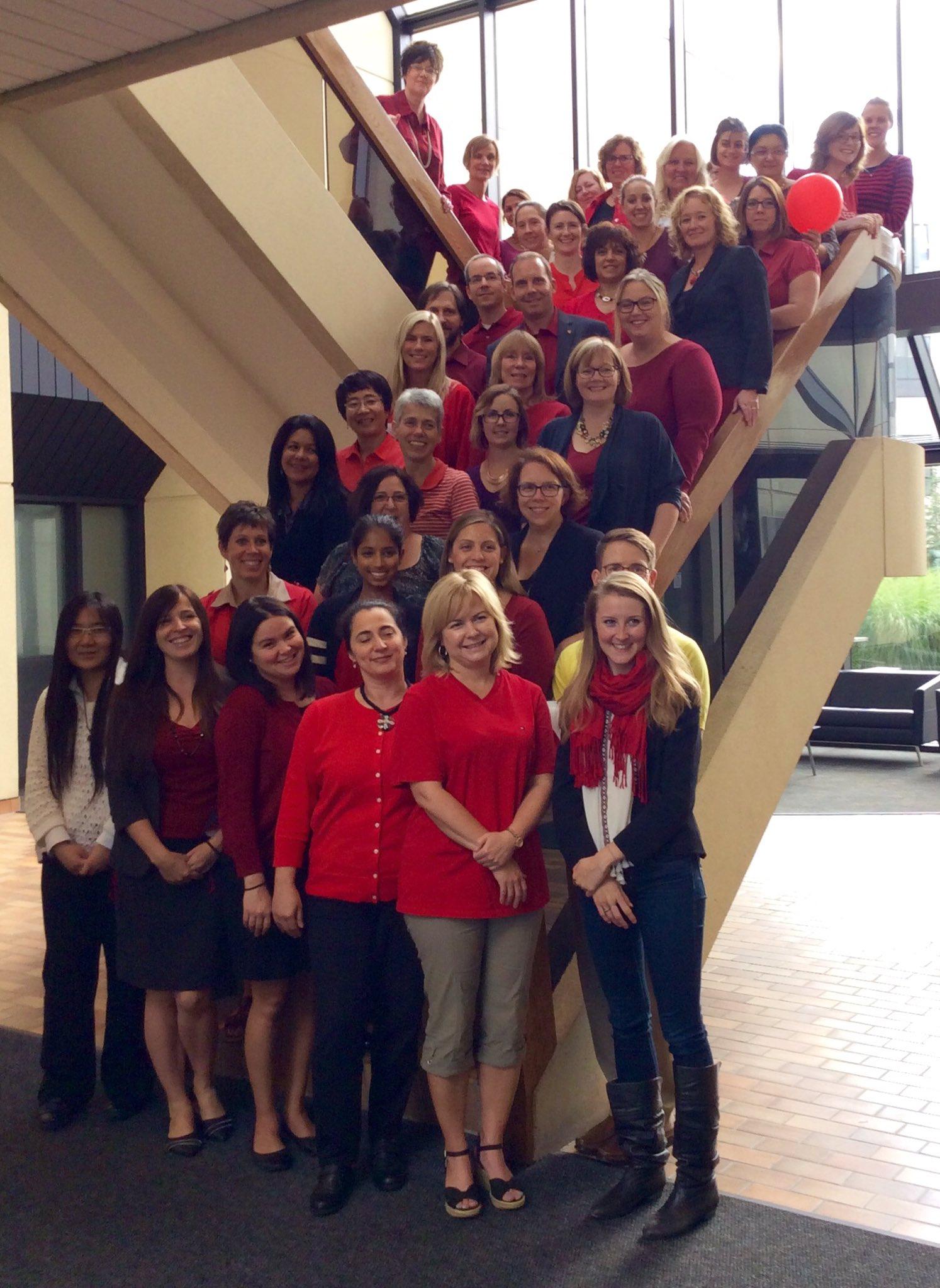 The Office of Advancement kicks off their United Way campaign by wearing red! #UWUnitedWay https://t.co/RpRTNx8MgB